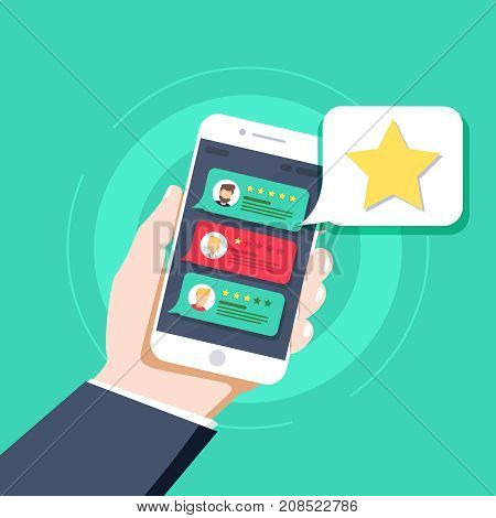 Star - user rating bookmark and evaluation icon in the bubble over mobile phone. Social media concept of user opinion review feedback. Flat line vector illustration UX UI element for web design