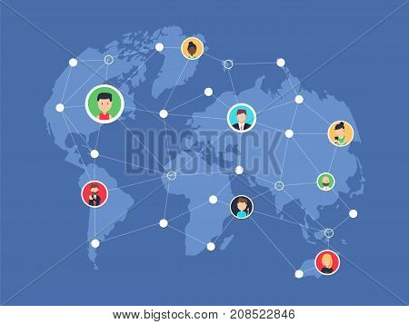 Social network people connecting all over the world. Vector flat illustration. Self photo concept illustration of young people taking photo and posting in social networks around the world.