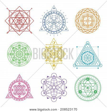 Collection of colored sacred symbols .Vector elements .