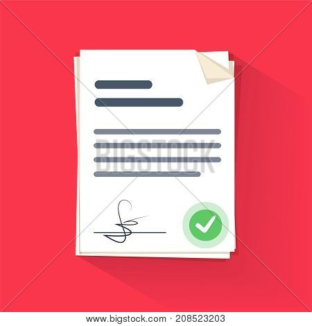 Document sign vector illustration flat cartoon paper documents pile with signature and text idea of contract signed doc legal agreement license with approved stamp partnership form success deal