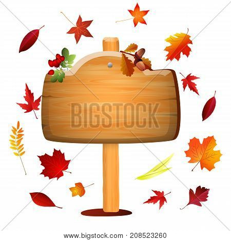 Autumn board with colored leaves . Vector background .