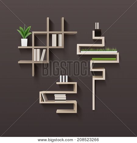 Vector modern wooden bookshelf with books and plants in interior, isolated on brown wall background