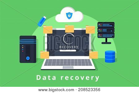 Data recovery data backup restoration and security flat design vector with icons. Vector illustration. Data protection concept web banner. Flat style. Internet security. For cloud services encryption app ad