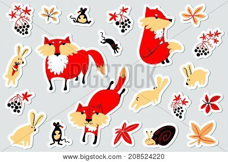 Tags with animals and florals in children's style. Illustration with fox rabbit mouse grape leaves. Cute vector labels