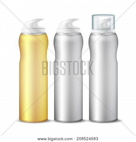 Realistic Spray Can Vector. Branding Design Aluminium Can Template Blank. Dispenser For Cream, Cosmetics. Gel Or Foam Dispenser Pump. Template For Mock Up. Isolated