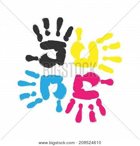 Hand print. Four color ink for printing. Hand prints of different colors. Vector stock.