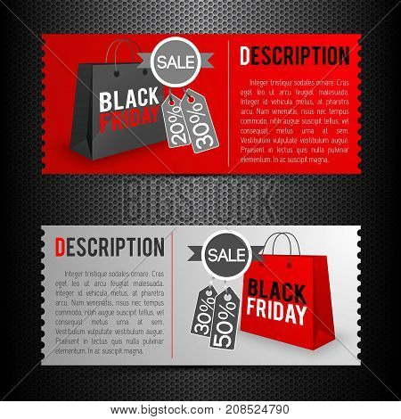 Flat set of red and grey horizontal banners giving description of black friday sale isolated vector illustration
