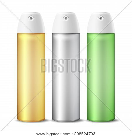 Realistic Air Freshener Spray Can Vector. Aluminium Can Template Blank. Hairspray, Deodorant. 3D Packaging. Template For Mock Up. Isolated