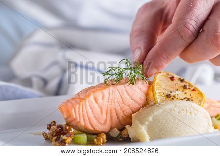 Chef In Hotel Or Restaurant Kitchen Cooking, Only Hands. Prepare