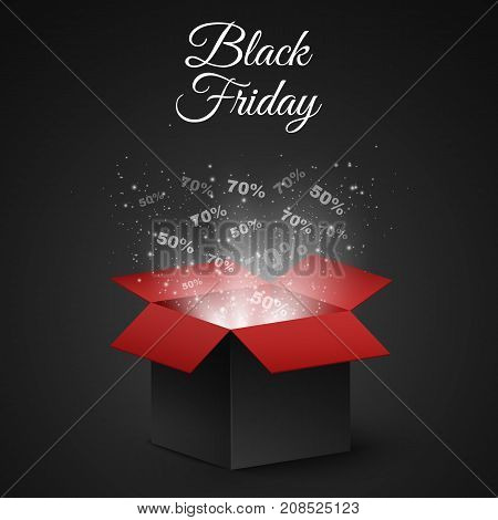 Black and red magic box for sale on a black Friday. Big discounts fly out of the box. Flying light particles and dust on a dark background. Special offer. Super sale. Vector illustration