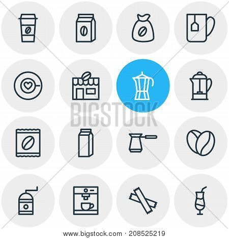 Editable Pack Of Turkish, Coffeemaker, Mocha And Other Elements.  Vector Illustration Of 16 Drink Icons.