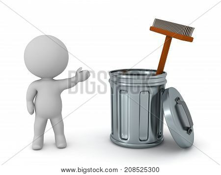 A 3D character showing a metallic trash can with a broom inside it. Isolated on white background.