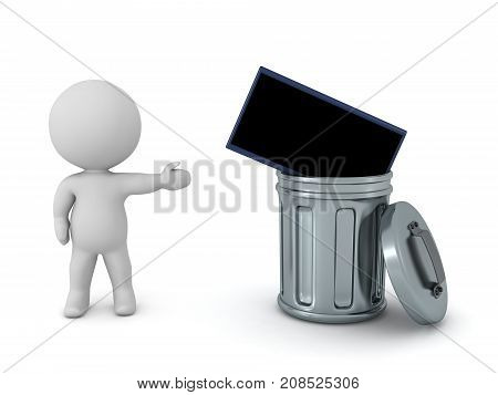 A 3D character showing a television thrown in a trash can. Isolated on white background.