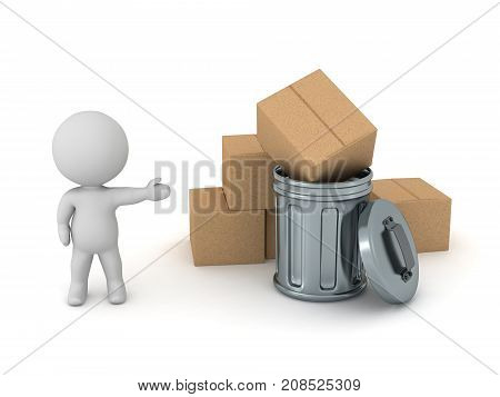A 3D character showing a metallic trash can and a pile of cardboard boxes. Isolated on white background.