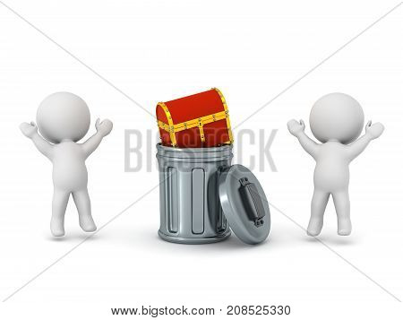 Two 3D characters jumping up and cheering to find a small treasure chest inside a trash can. Isolated on white background.