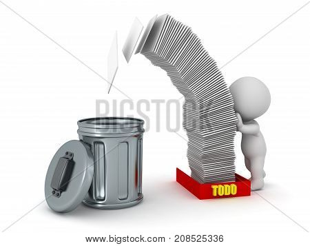 A 3D character pushing a tall stack of papers from a todo tray into a trash can. Isolated on white background.