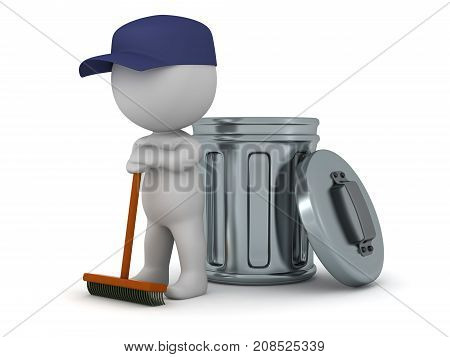 A 3D character wearing janitor clothes with a broom and a trash can. Isolated on white background.