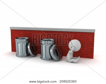 A sad 3D character sitting down next to a brick wall with trash cans. Isolated on white background.