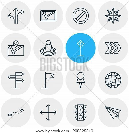 Editable Pack Of Origami, Signpost, Map And Other Elements.  Vector Illustration Of 16 Location Icons.