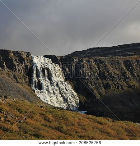 Famous waterfall Dynjandi, also named Fjalfoss. Westfjords of Iceland.