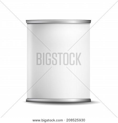 Tin Box Can Template Vector. 3d Realistic Empty Packaging Container Blank. Food Container. Isolated On White Background Illustration