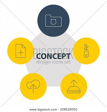 Editable Pack Of Fastener, Cloud Download, Privacy Doc And Other Elements.  Vector Illustration Of 5 Web Icons.