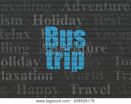 Tourism concept: Painted blue text Bus Trip on Black Brick wall background with  Tag Cloud