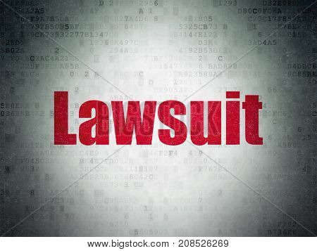 Law concept: Painted red word Lawsuit on Digital Data Paper background