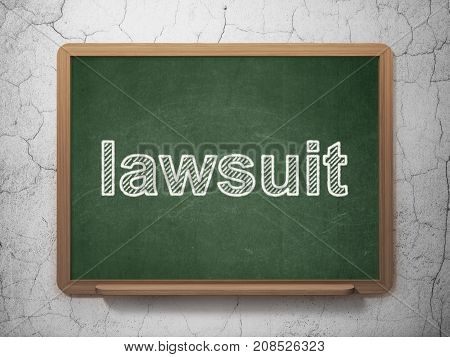 Law concept: text Lawsuit on Green chalkboard on grunge wall background, 3D rendering