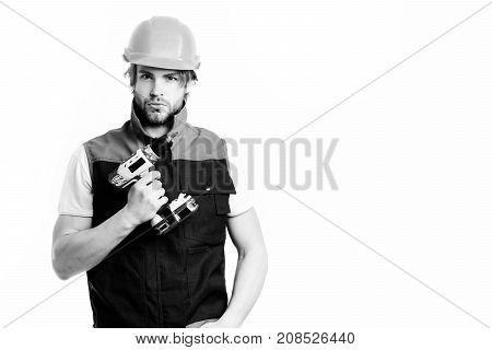 Work In Progress And Repairing Concept. Builder In Orange Helmet