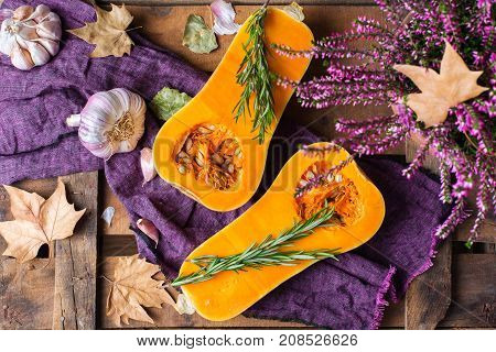Fall Autumn Harvest Background With Butternut Squash Pumpkin And Rosemary