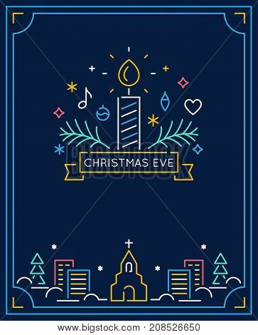 Candle and Ornaments, Winter Town and Church Outline. Christmas Eve Candlelight Service Invitation. Line Art Vector Design.