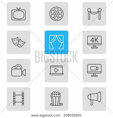 Editable Pack Of Camera, Tv, Theater And Other Elements.  Vector Illustration Of 12 Film Icons.