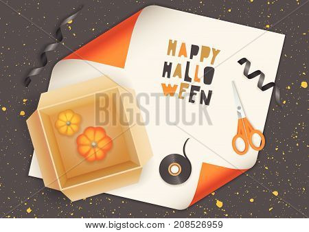 Vector realistic illustration of halloween gift wrapping. Cardboard box with pumpkins, scissors, ribbon and cut out letters on orange paper. Top view.