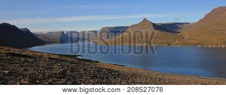 Landscape in north Iceland. Coastal scene. Alftafjoerdur, fjord.