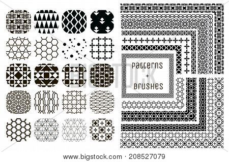 Collection of 20 Black Geometric Seamless Patterns and 11 Flexible, Color, Size and Shape adjustable Pattern Brushes with outer and inner tiles. Vector Illustration. Ornamental Repeating Backgrounds
