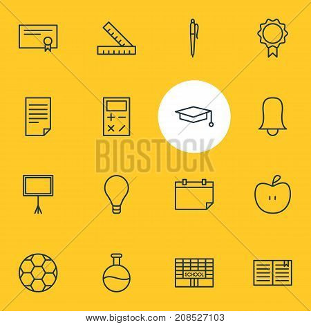 Editable Pack Of Write Table, School, Date And Other Elements.  Vector Illustration Of 16 Education Icons.