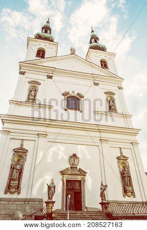 St. Michael church in Brno Moravia Czech republic. Religious architecture. Yellow photo filter.