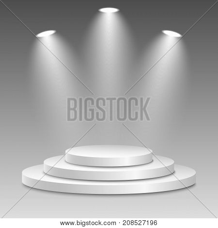 White podium with spotlights on a transparent background. The winner is in first place. Bright white light from searchlights. Light pedestal. Festive event. Vector illustration