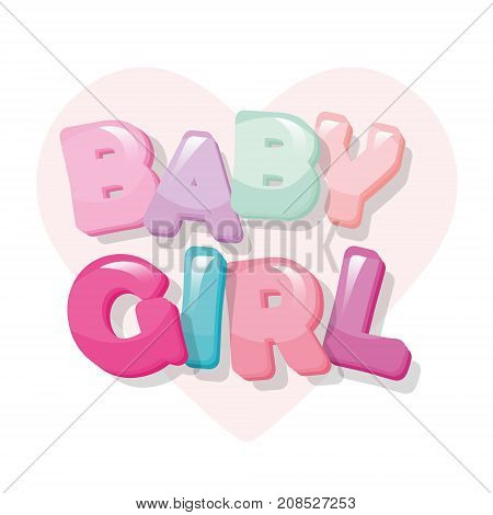Baby girl. Glossy cartoon letters in pastel pink. Cute sticker. Vector
