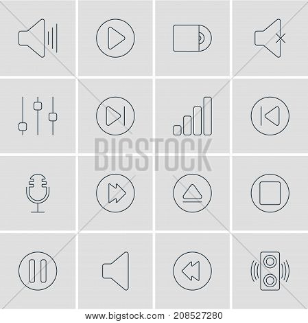 Editable Pack Of Reversing, Subsequent, Amplifier And Other Elements.  Vector Illustration Of 16 Melody Icons.