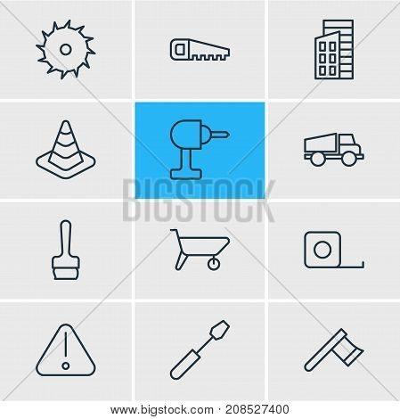 Editable Pack Of Measure Tape, Turn Screw, Lorry And Other Elements.  Vector Illustration Of 12 Construction Icons.
