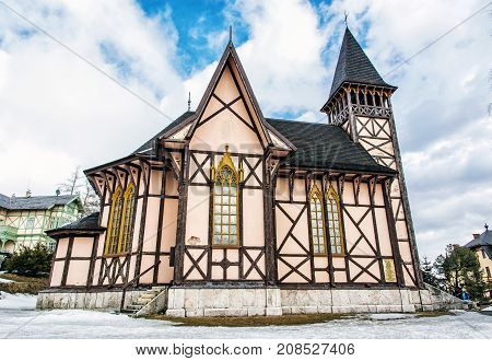 The Church of the Immaculate Conception of the Mary Stary Smokovec High Tatras mountains Slovak republic. Architectural theme. Travel destination.