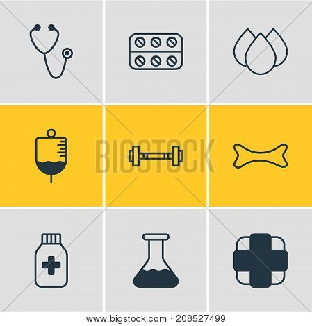 Editable Pack Of Dumbbell, Pills, Antibody And Other Elements.  Vector Illustration Of 9 Medicine Icons.