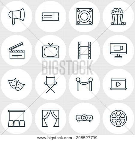 Editable Pack Of Movie Reel, Filmstrip, Loudspeaker And Other Elements.  Vector Illustration Of 16 Movie Icons.
