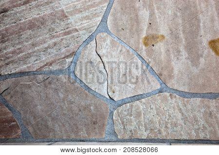 Closeup of Flagstone natural and weathered porch step
