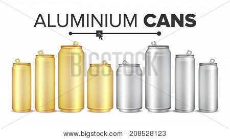 Blank Metallic Cans Set Vector. Empty Layout For Your Design. Energy Drink, Juice, Water Etc. Isolated