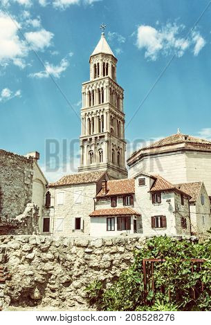 Cathedral of Saint Domnius in Split Croatia. Religious architecture. Travel destination. Old photo filter.