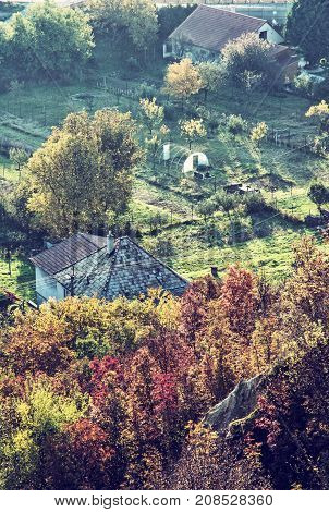 Close up photo of rural scene. Seasonal natural theme. Vibrant colors. House and gardens. Living in symbiosis. Blue photo filter. poster