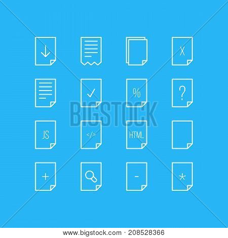 Editable Pack Of Plus, Upload, Folder And Other Elements.  Vector Illustration Of 16 Paper Icons.